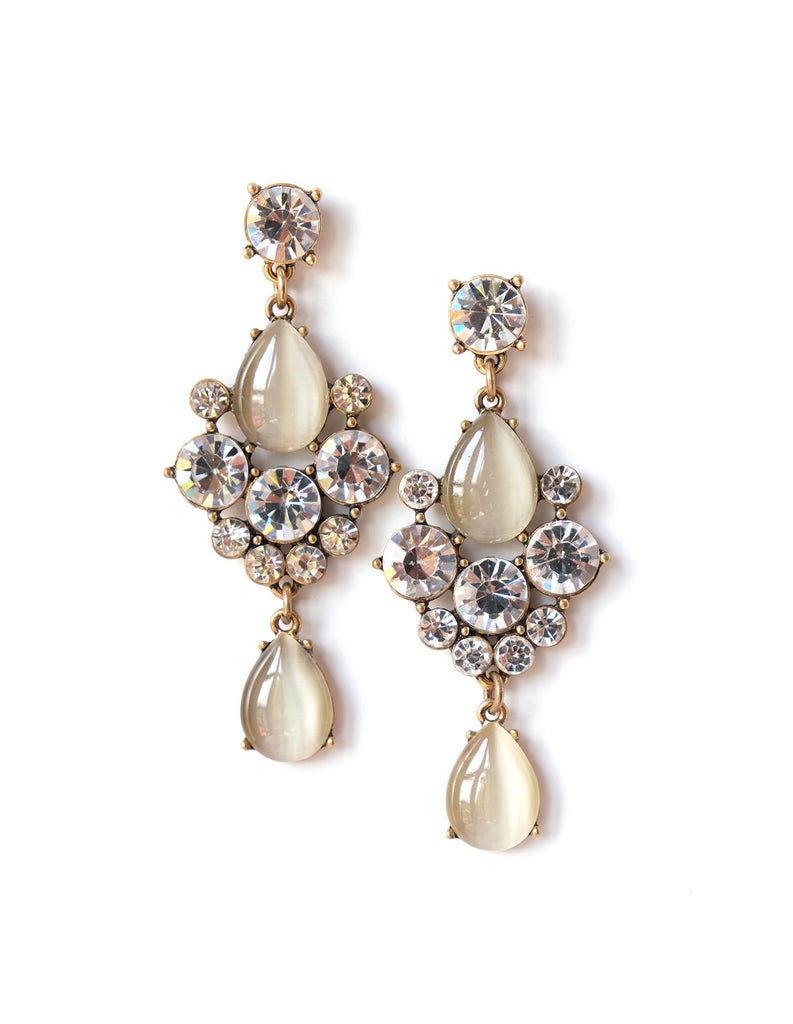 Patricia Moonstone and Crystal Drop Earrings