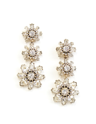 Paris Floral Crystal Drop Earrings