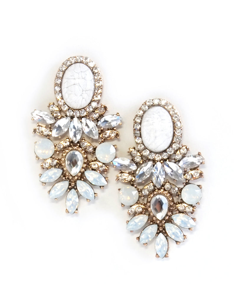 Parker Crystal Drop Earrings (Ivory)