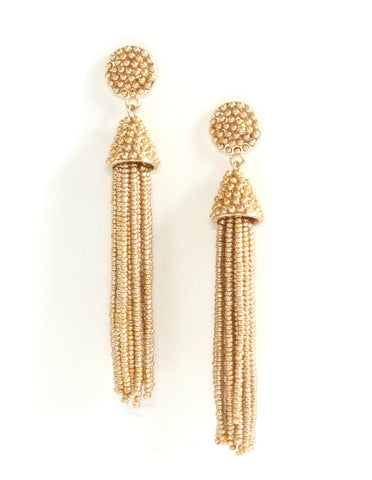 Paulina Metallic Beaded Tassel Earrings (Colors Available)