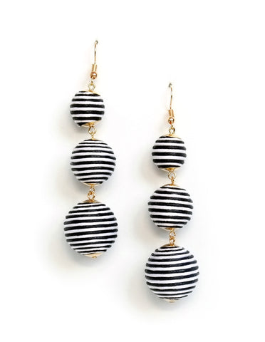 Perry Stripe Ball Drop Earrings