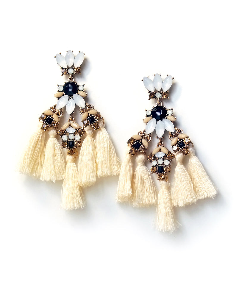 Rana Crystal Tassel Earrings (Beige)