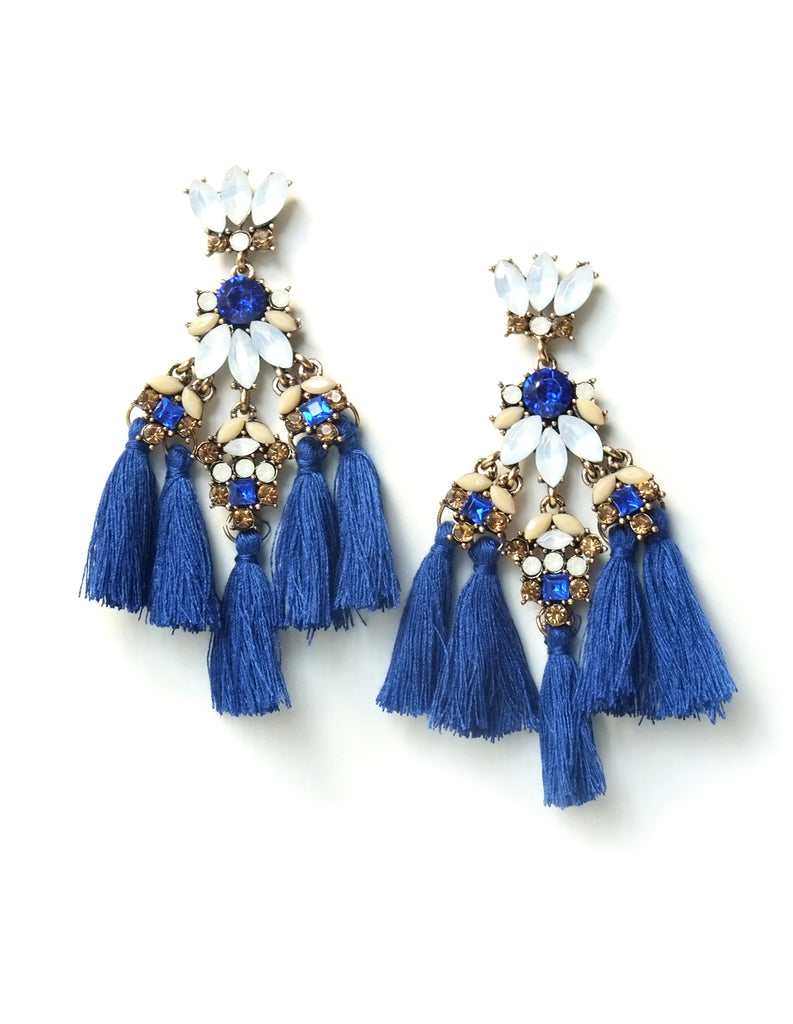 Rana Crystal Tassel Earrings (Royal Blue)
