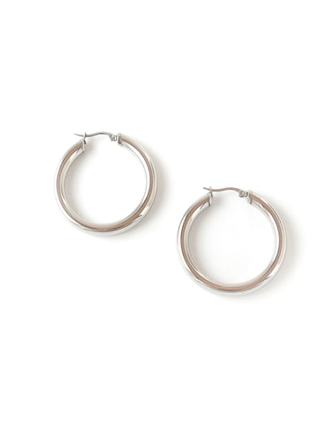 "Essential Silver Hoop Earrings (1.5"")"
