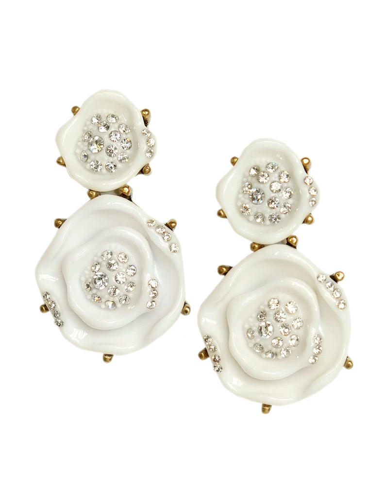 Rosanna Rose Crystal Earrings (Ivory)