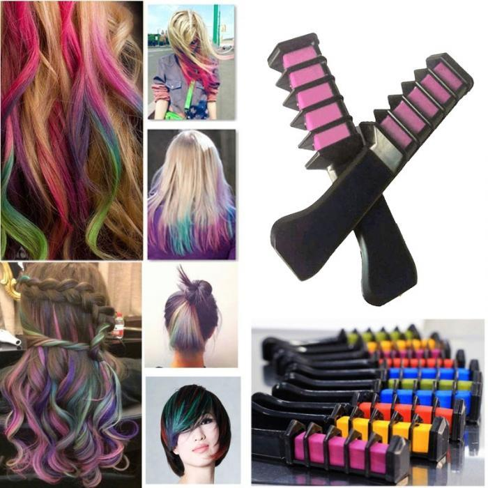 Semi Permanent Hair Color Chalk Powder With Comb