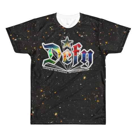 Defy Psychedelic Logo & Deep Space - All-Over Print Unisex Crewneck T-Shirt
