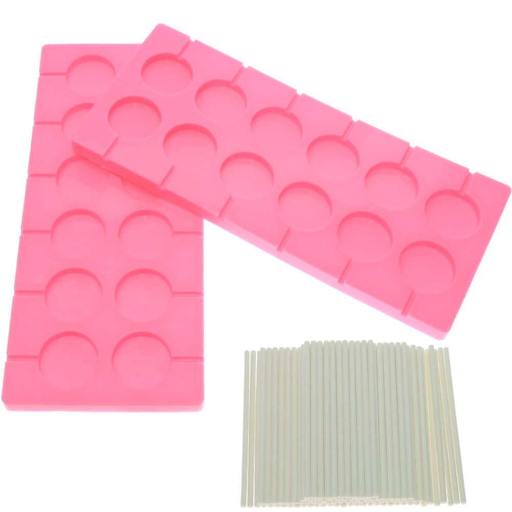 2x 12-Capacity Round Chocolate Hard Candy Silicone Lollipop Molds with 100  count 4 inch Lollypop Sucker Sticks for Halloween Christmas Parties