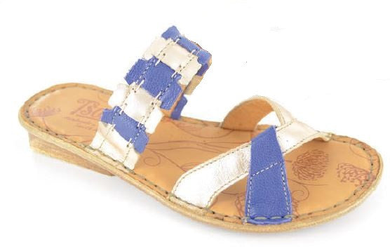 Thikaza blue and gold sandals