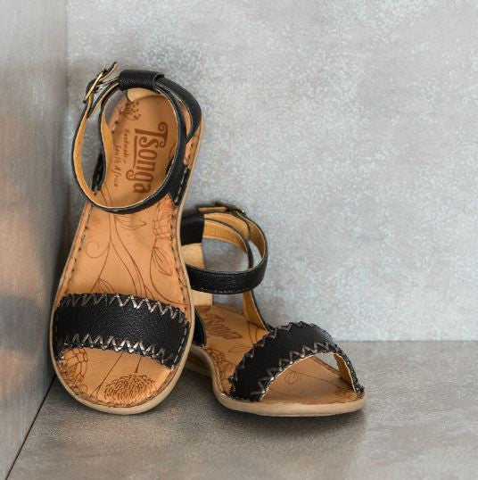 Lishumi Black Leather Sandals | Tsonga USA