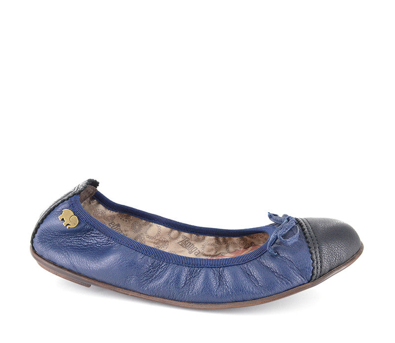 Tsonga Shumi denim and black leather ballet flats