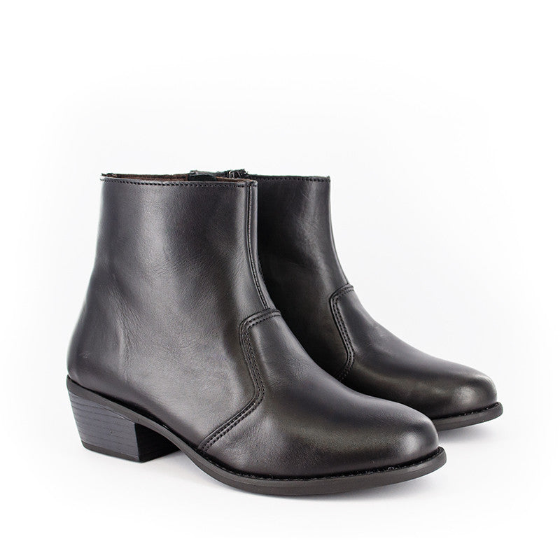 Disholo Zip-Up Black Ankle Boot | Tsonga USA