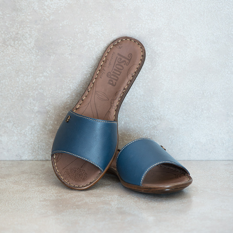 MALUKAZI Navy slide sandals | Tsonga USA