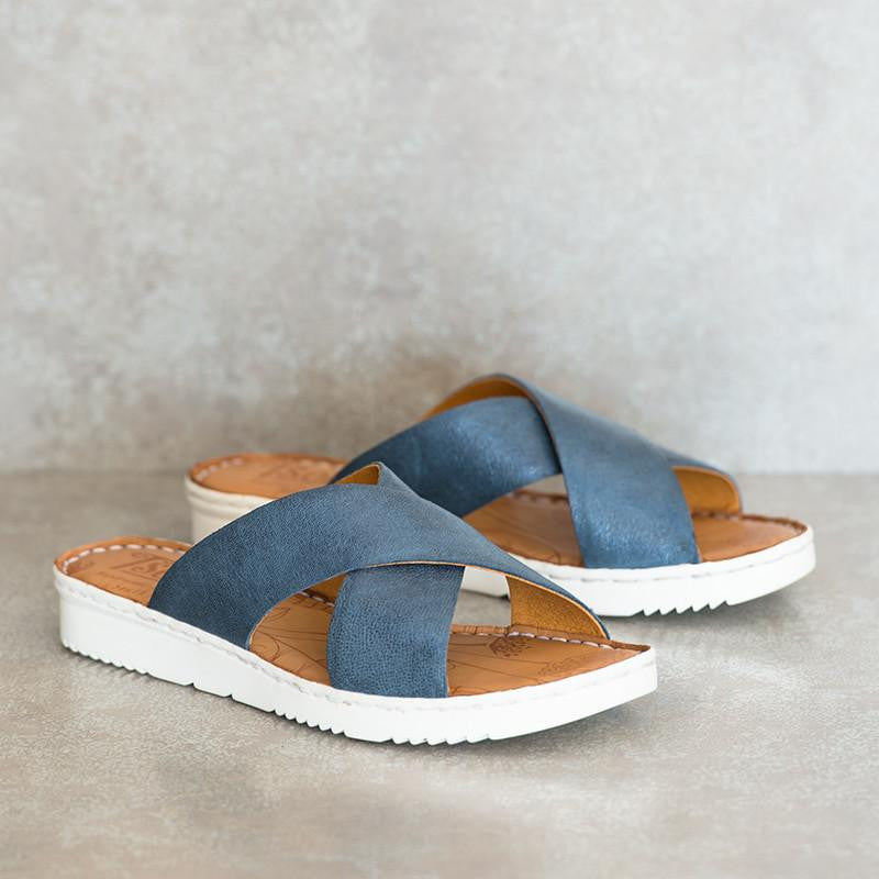 NOMBALI Spazio Blue Criss Cross Sandals | Tsonga USA