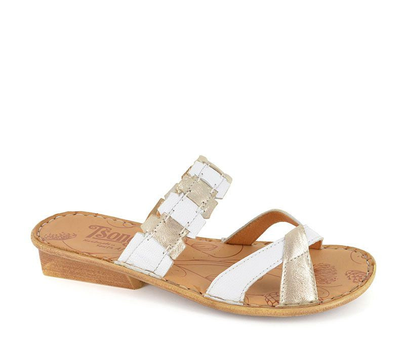 Thikaza white and silver sandals