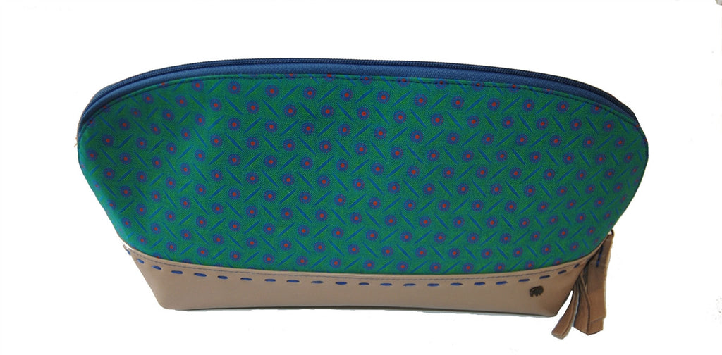 Tsonga Lulama Makeup Bag Peacock/Mid Blue Shweshwe