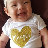 Baby Onesie-Gold heart