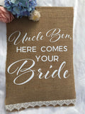 Here comes your bride burlap banner