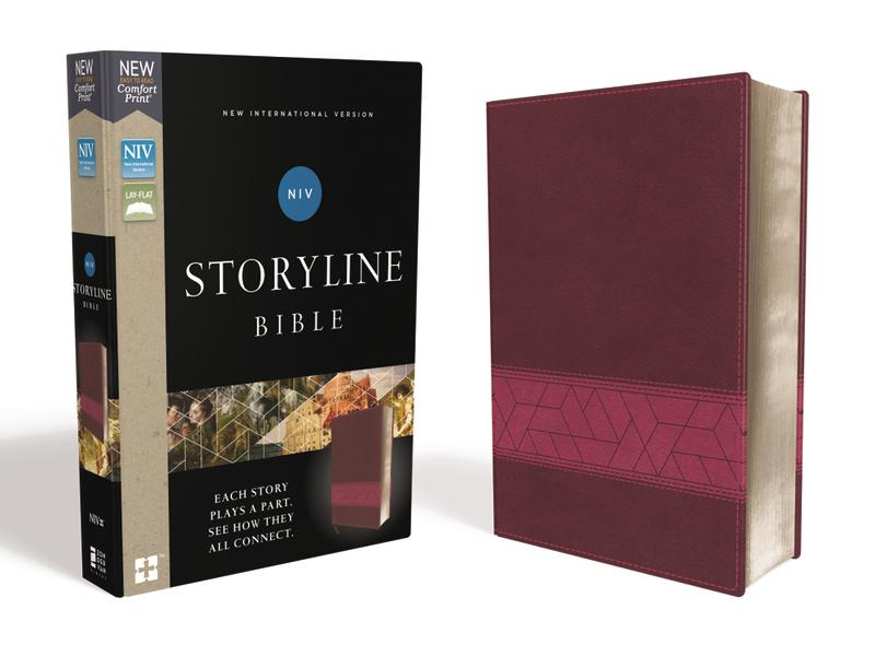 NIV, Storyline Bible, Leathersoft, Pink, Comfort Print: Each Story Plays a Part. See How They All Connect.