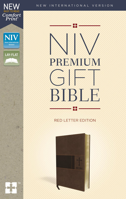 NIV, Premium Gift Bible, Leathersoft, Brown, Red Letter Edition, Indexed, Comfort Print: The Perfect Bible for Any Gift-Giving Occasion