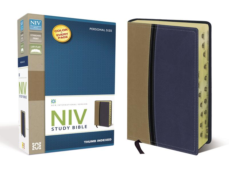 NIV Study Bible, Leathersoft, Tan/Blue, Indexed, Red Letter Edition
