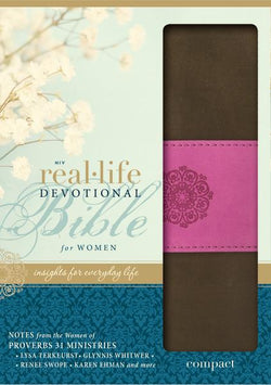 NIV, Real-Life Devotional Bible for Women, Compact, Leathersoft, Brown/Pink: Insights for Everyday Life