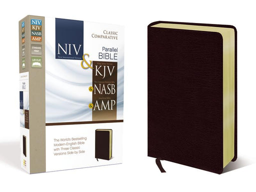 NIV, KJV, NASB, Amplified, Classic Comparative Parallel Bible, Bonded Leather, Burgundy: NIV & KJV & NASB & Amplified