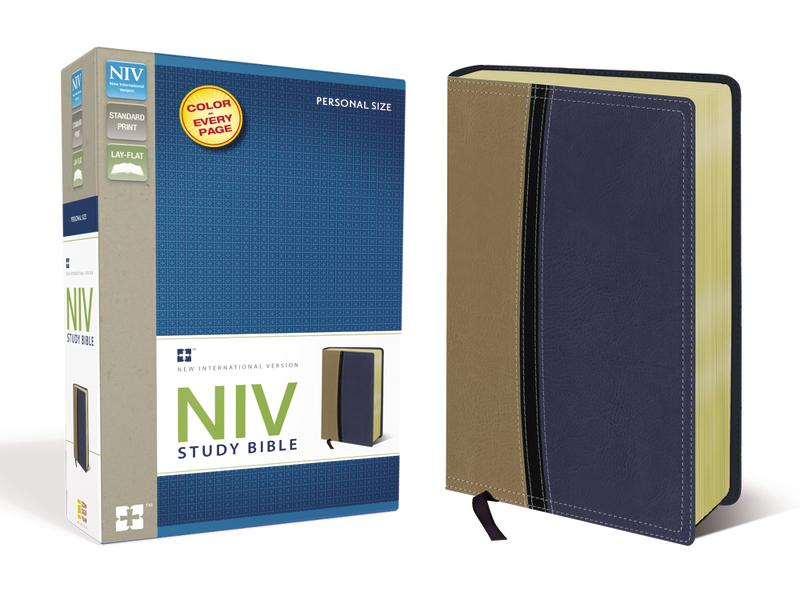 NIV Study Bible, Leathersoft, Tan/Blue, Red Letter Edition