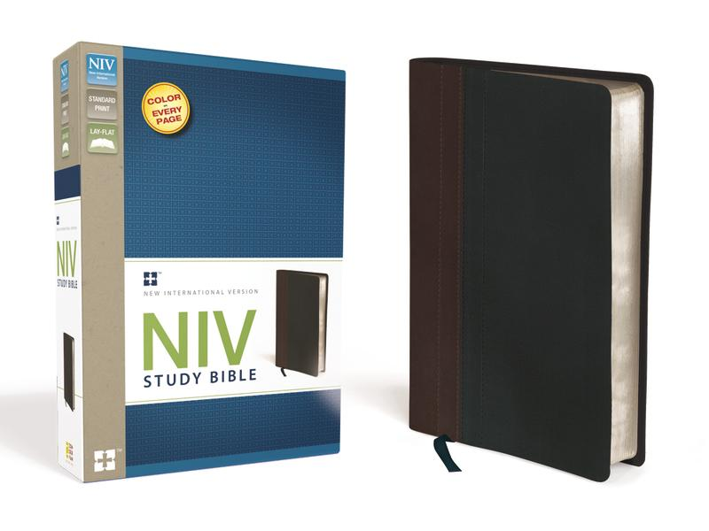NIV Study Bible, Leathersoft, Brown/Black, Red Letter Edition
