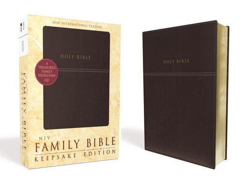 NIV, Family Bible (Keepsake Edition), Leathersoft, Burgundy, Red Letter Edition