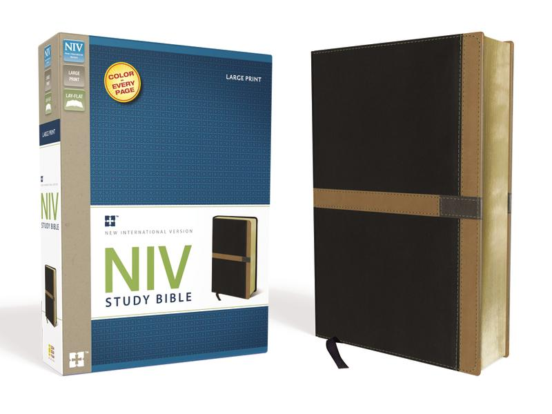 NIV Study Bible, Large Print, Leathersoft, Black/Tan, Red Letter Edition
