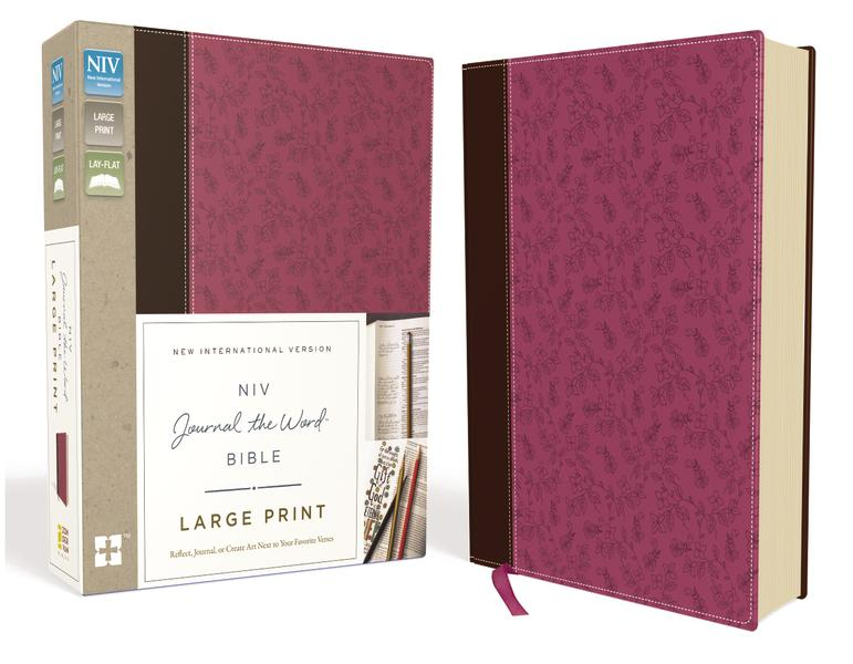 NIV, Journal the Word Bible, Large Print, Leathersoft, Pink/Brown: Reflect, Journal, or Create Art Next to Your Favorite Verses