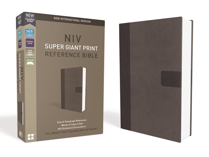 NIV, Super Giant Print Reference Bible, Leathersoft, Gray, Red Letter Edition, Comfort Print