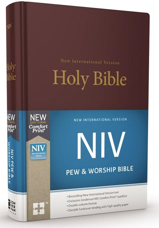 NIV, Pew and Worship Bible, Hardcover, Burgundy, Comfort Print