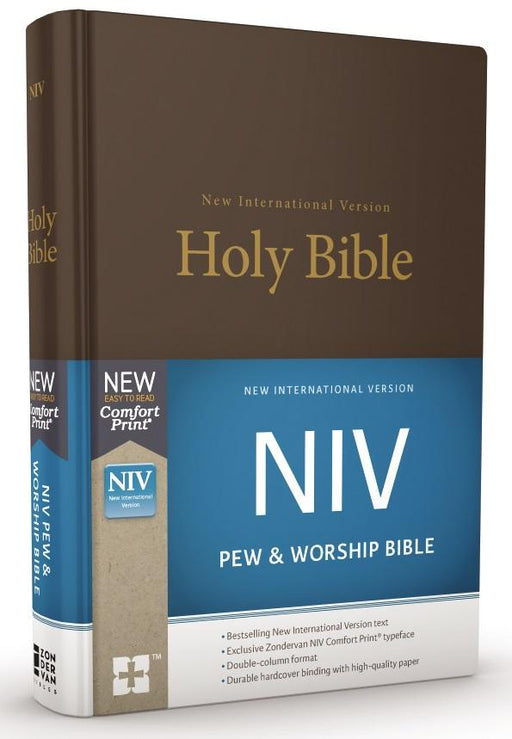 NIV, Pew and Worship Bible, Hardcover, Brown, Comfort Print