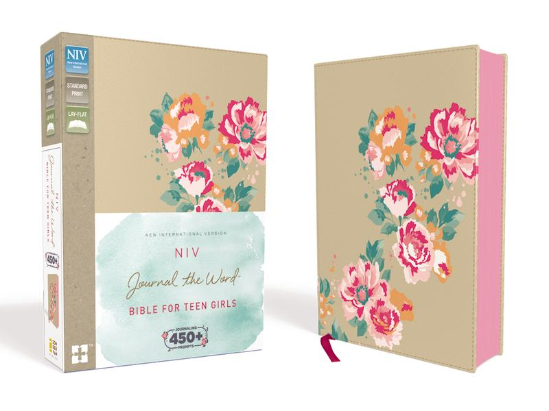 NIV, Journal the Word Bible for Teen Girls, Leathersoft over Board, Gold/Floral, Red Letter Edition: Includes Over 450 Journaling Prompts!