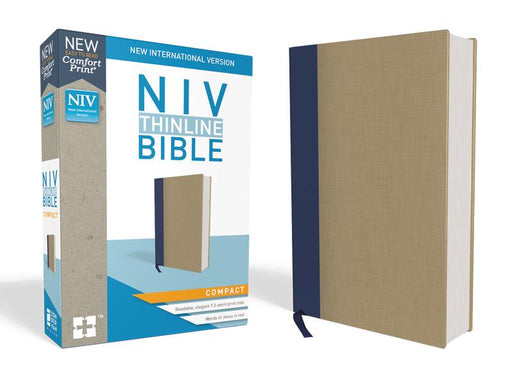 NIV, Thinline Bible, Compact, Cloth over Board, Blue/Tan, Red Letter Edition, Comfort Print