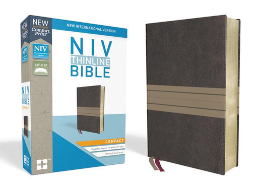 NIV, Thinline Bible, Compact, Leathersoft, Brown/Tan, Red Letter Edition, Comfort Print