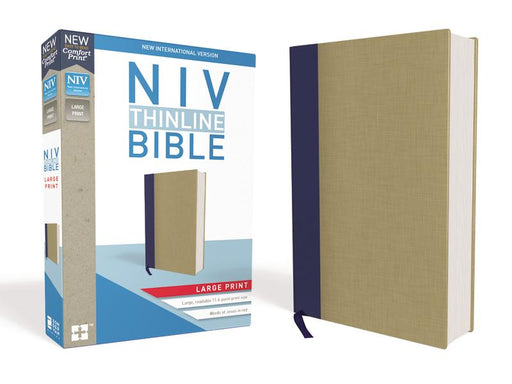 NIV, Thinline Bible, Large Print, Cloth over Board, Blue/Tan, Red Letter Edition, Comfort Print