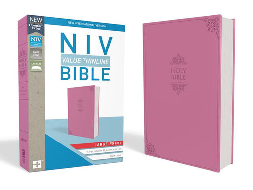 NIV, Value Thinline Bible, Large Print, Leathersoft, Pink, Comfort Print