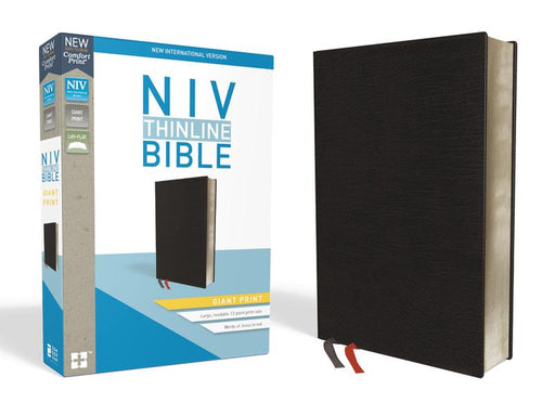 NIV, Thinline Bible, Giant Print, Bonded Leather, Black, Indexed, Red Letter Edition, Comfort Print