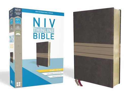 NIV, Thinline Bible, Giant Print, Leathersoft, Brown/Tan, Red Letter Edition, Comfort Print
