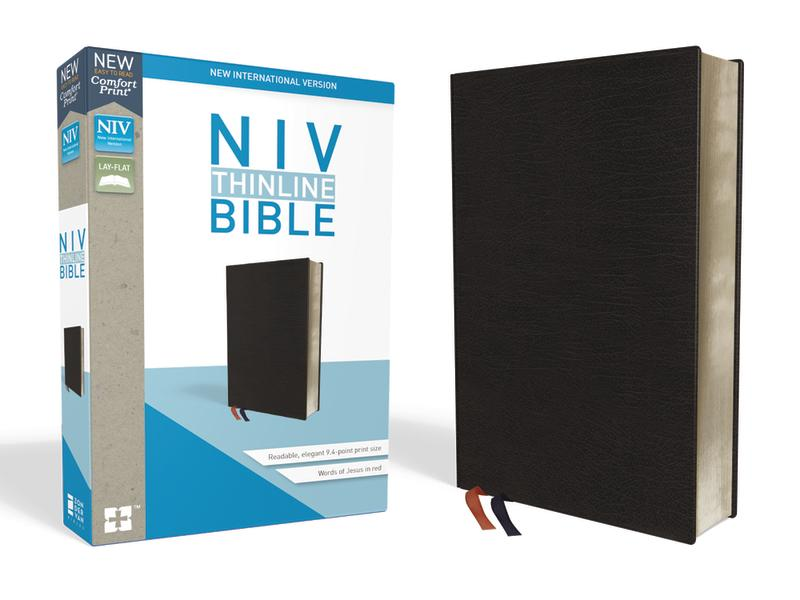 NIV, Thinline Bible, Bonded Leather, Black, Indexed, Red Letter Edition, Comfort Print