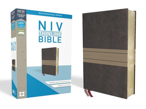 NIV, Thinline Bible, Leathersoft, Brown/Tan, Red Letter Edition, Comfort Print