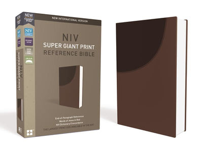 NIV, Super Giant Print Reference Bible, Leathersoft, Brown, Red Letter Edition, Comfort Print