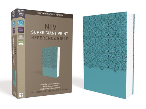 NIV, Super Giant Print Reference Bible, Leathersoft, Teal, Red Letter Edition, Comfort Print