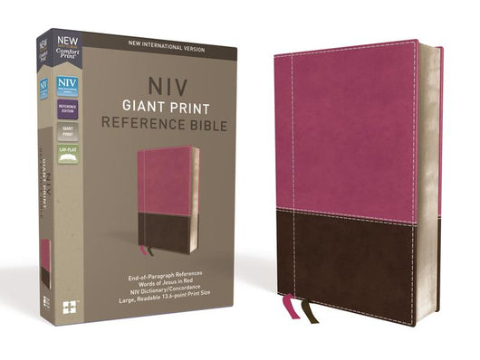 NIV, Reference Bible, Giant Print, Leathersoft, Pink/Brown, Red Letter Edition, Comfort Print