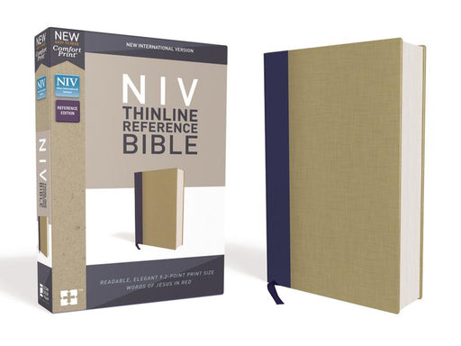 NIV, Thinline Reference Bible, Cloth over Board, Blue/Tan, Red Letter Edition, Comfort Print