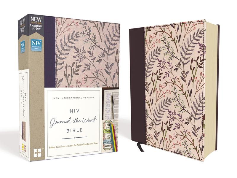 NIV, Journal the Word Bible, Cloth over Board, Pink Floral, Red Letter Edition, Comfort Print: Reflect, Take Notes, or Create Art Next to Your Favorite Verses