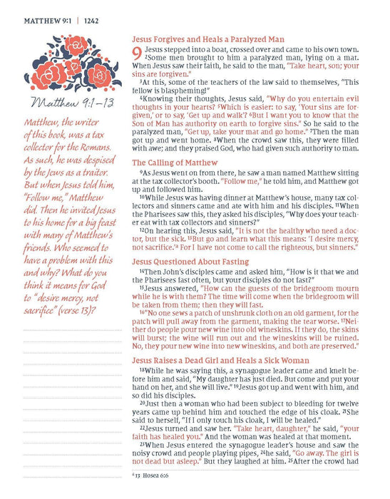 NIV, Journal the Word Bible for Women, Cloth over Board, Navy, Red Letter Edition, Comfort Print: 500+ Prompts to Encourage Journaling and Reflection